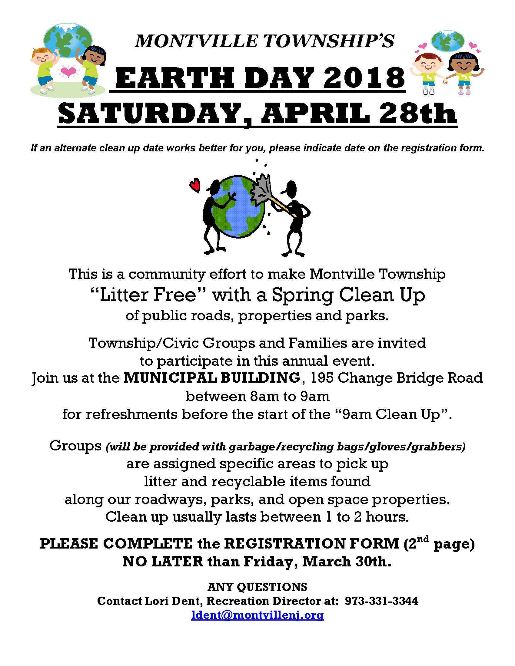 2018 Earth Day Clean Up Flyer And Registration Form_Page_1